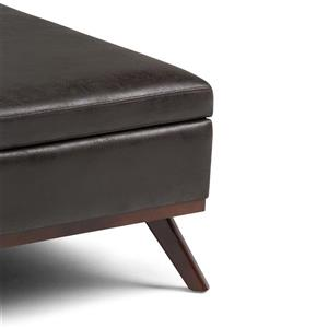 Simpli Home Owen Distressed Black Square Coffee Table Ottoman with Storage