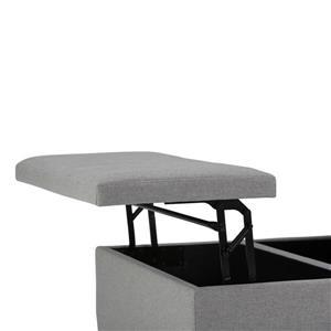 Simpli Home Ellis 36-in x 36-in x 16.5-in Grey Coffee Table Storage Ottoman