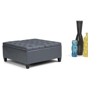 Simpli Home Harrison 36-in x 36-in x 16.5-in Grey Coffee Table Storage Ottoman