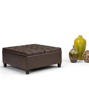 Simpli Home Harrison 36-in x 36-in x 16.5-in Brown Coffee Table Storage Ottoman