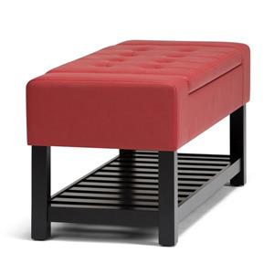 Simpli Home Finley 43.5-in x 17-in x 18.5-in Red Storage Ottoman Bench