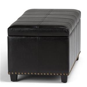 Simpli Home Amelia 33.5-in x 18-in x 16.5-in Black Storage Ottoman Bench