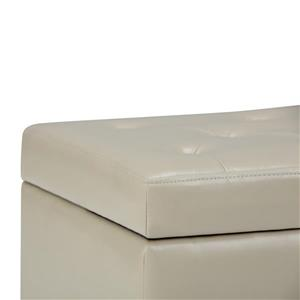 Simpli Home Hannah 33.7-in x 17.7-in x 18.7-in Off-White Storage Ottoman Bench