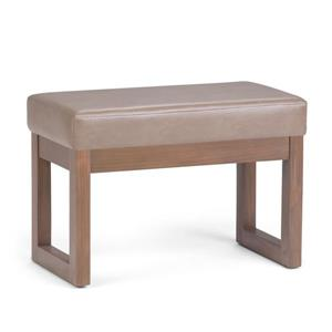 Simpli Home Milltown 26.8-in x 14.4-in x 18.4-in Ash Brown Small Ottoman Bench