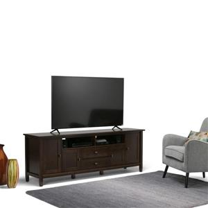 Simpli Home Warm Shaker 72-in 17.3-in x 26.1-in Tobacco Brown TV Media Stand
