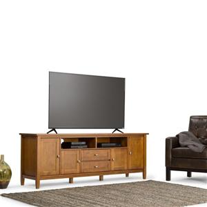 Simpli Home Warm Shaker 72-in 17.3-in x 26.1-in Brown TV Media Stand