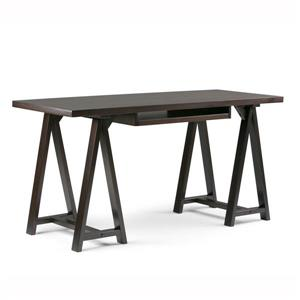 Simpli Home Sawhorse 60-in Dark Chestnut Brown Pine Desk