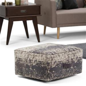 Simpli Home Tilley 20-in x 20-in 10-in Grey Cotton Square Pouf