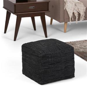 Simpli Home Fredrik 18-in x 18-in x 14-in Black Faux Leather Square Pouf