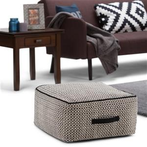 Simpli Home Shea 20-in x 20-in x 10-in  Black Natural Cotton Patterened Square Pouf