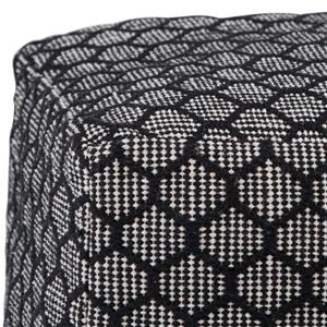 Simpli Home Simpson 18-in x 18-in x 14-in Cotton Patterened Black/Natural Square Pouf