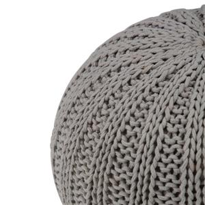 Simpli Home Shelby 20-in x 20-in x 14-in Dove Grey Cotton Round Pouf