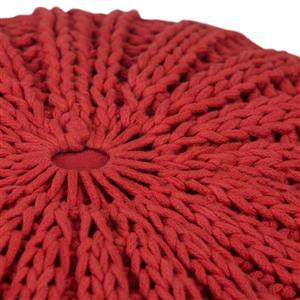 Simpli Home Shelby 20-in x 20-in x 14-in Candy Red Cotton Round Pouf