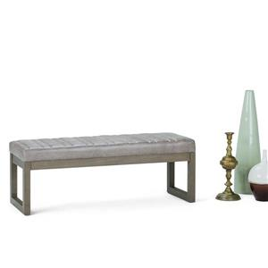 Simpli Home Casey 48-in x 16.1-in x 17.9-in Grey Faux Leather Ottoman Bench
