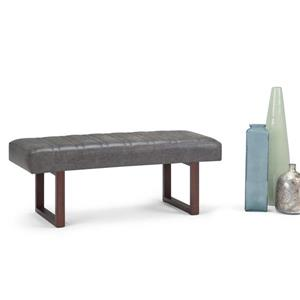 Simpli Home Driscol 48-in x 18.1-in x 18.1-in Grey Faux Leather Large Ottoman Bench