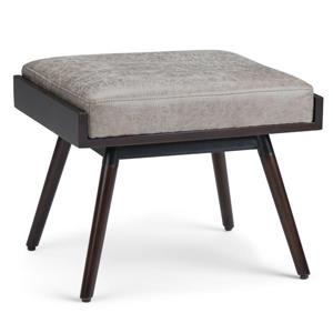 Simpli Home O'Brian  24-in x 18.1-in x 18.9-in Grey  Faux Leather Distressed Footstool