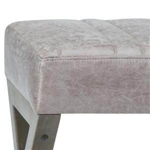 Simpli Home Salinger Distressed Grey Taupe Faux Leather Ottoman Bench