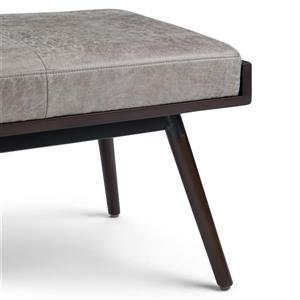 Simpli Home O'Brian Grey Faux Leather Distressed Bench Ottoman