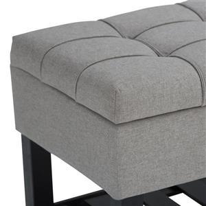 Simpli Home Saxon 43.5-in x 17-in x 18.5-in Linen Grey Storage Ottoman Bench