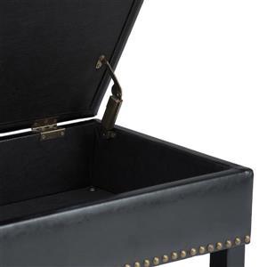 Simpli Home Radley 43.5-in x 17-in x 18.5-in Midnight Black Storage Ottoman Bench