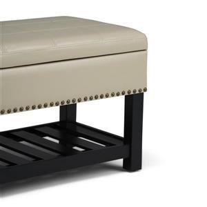 Simpli Home Radley 43.5-in x 17-in x 18.5-in Satin Cream Storage Ottoman Bench