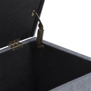 Simpli Home Sienna Slate Grey 33.5-in x 18-in x 16.5-in Storage Ottoman Bench