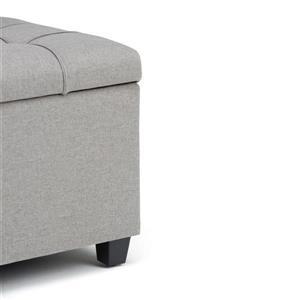 Simpli Home Sienna Storage Dove Grey 33.5-in x 18-in x 16.5-in Ottoman Bench