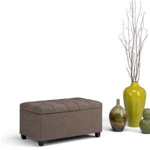 Simpli Home Sienna 33.5-in x 18-in  Linen Brown Storage Ottoman Bench