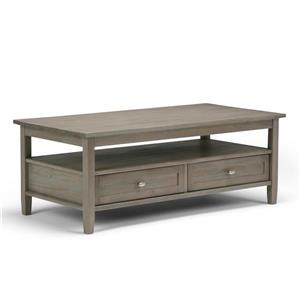 Simpli Home Warm Shaker 48-in x 24-in x 18.1-in Solid Pine In Distressed Grey Finish Double Drawer Rectangular Coffee Table