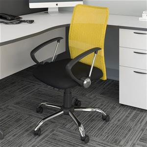 CorLiving 20.00-In x 19.00-In Contoured Yellow Mesh Back Office Chair