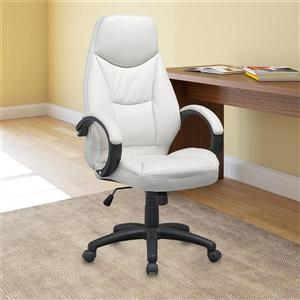 CoreLiving 23.00-in x 20.00-in White Leatherette Executive Office Chair