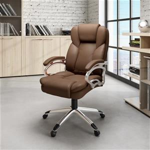 CoreLiving 22.50-in x 21.00-in Caramel Brown Leatherette Executive Office Chair