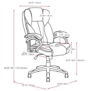 CoreLiving 22.50-in x 21.00-in Black Leatherette Executive Office Chair