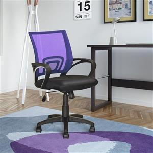 CorLiving 18.50-In x 18.25-In Contoured Purple Mesh Back Office Chair
