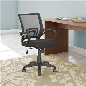 CoreLiving 22.00-in x 18.25-in Black Mesh Back Office Chair