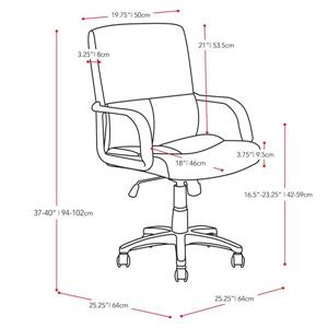 CorLiving 21.00-In x 20.00-In Black Leatherette Office Chair