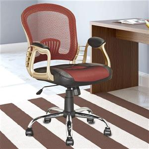 CorLiving 19.50-In x 19.25-In Black Leatherette and Red Mesh Office Chair