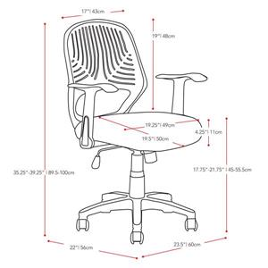 CoreLiving 22.00-in x 19.00-in Black Mesh Back Office Chair