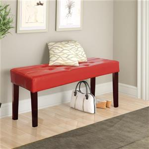 CorLiving Fresno 19-In x 35-In x 15-In 12-Panel Red Leatherette Indoor Bench