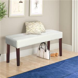 CorLiving Fresno 11-Lbs 19-In x 35-In x 15-In White Leatherette 12-Panel Indoor Bench