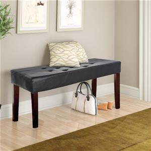 CorLiving Fresno 11-Lbs 19-In x 35-In x 15-In Black Leatherette 12-Panel Indoor Bench