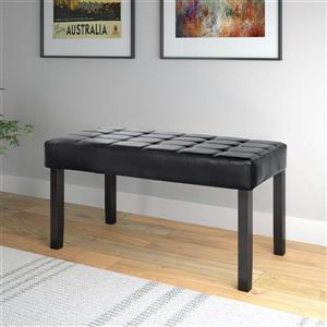 CorLiving California Indoor Bench -19-in x 35-in x 15-in Black Leatherette