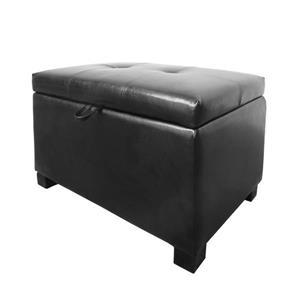 CorLiving Antonio 23-in x 15-in x 17-in Black Bonded Leather Storage Ottoman