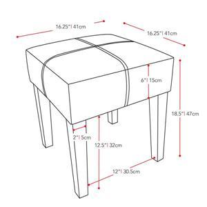 CorLiving Antonio 16-in x 16-in x 19-in Beige Fabric Square Bench