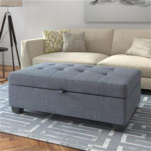 CorLiving Antonio 46-in x 28-in x 18-in Blue Grey Fabric Storage Ottoman