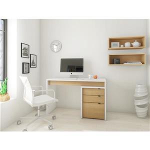 Nexera Chrono White and Maple Reversible Desk Panel