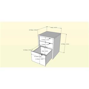 Nexera Liber-T White and Walnut 3-Drawer Filing Cabinet