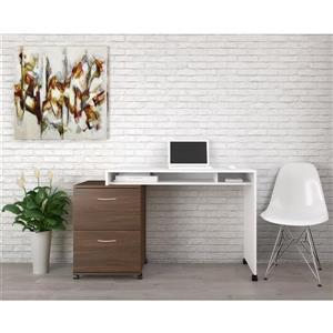 Nexera Essentials White and Walnut 2-Piece Home Office Set