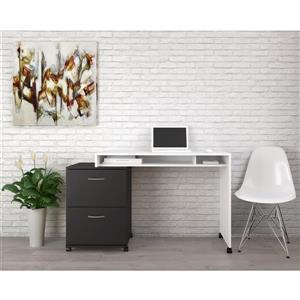 Nexera Essentials White and Black 2-Piece Home Office Set