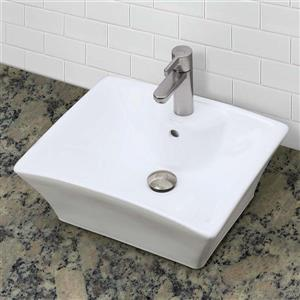 Decolav Dahlia Above-Counter Square White Sink With Overflow